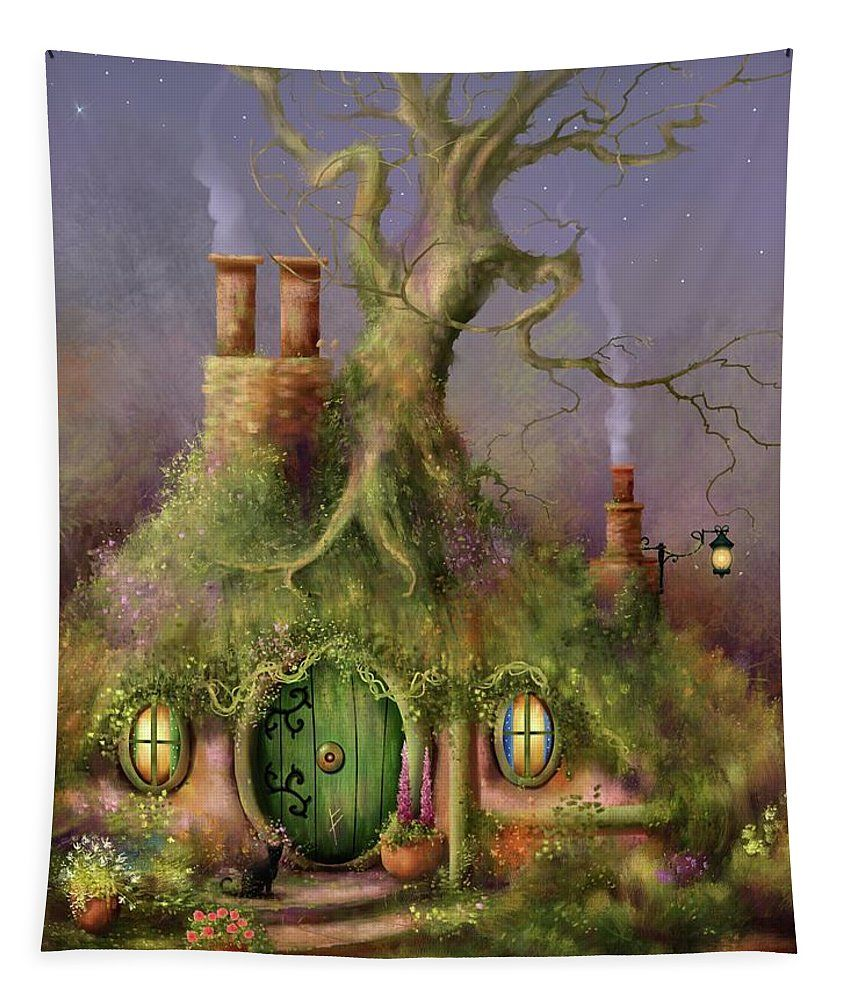 Magical Vintage Treehouse  Illustration IN ANY COLOR Canvas Tote Selection of sizes available