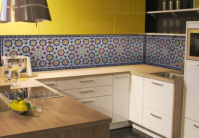 Küchenrückwand - Alu-Dibond-Silber - Orientalische Kacheln 01 ...