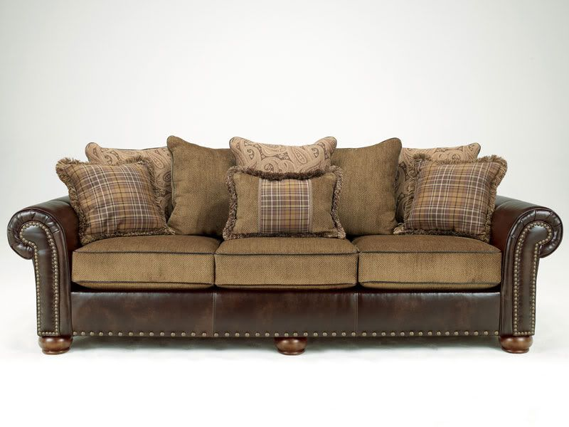 Cordoba Traditional Faux Leather Chenille Sofa Couch Loveseat