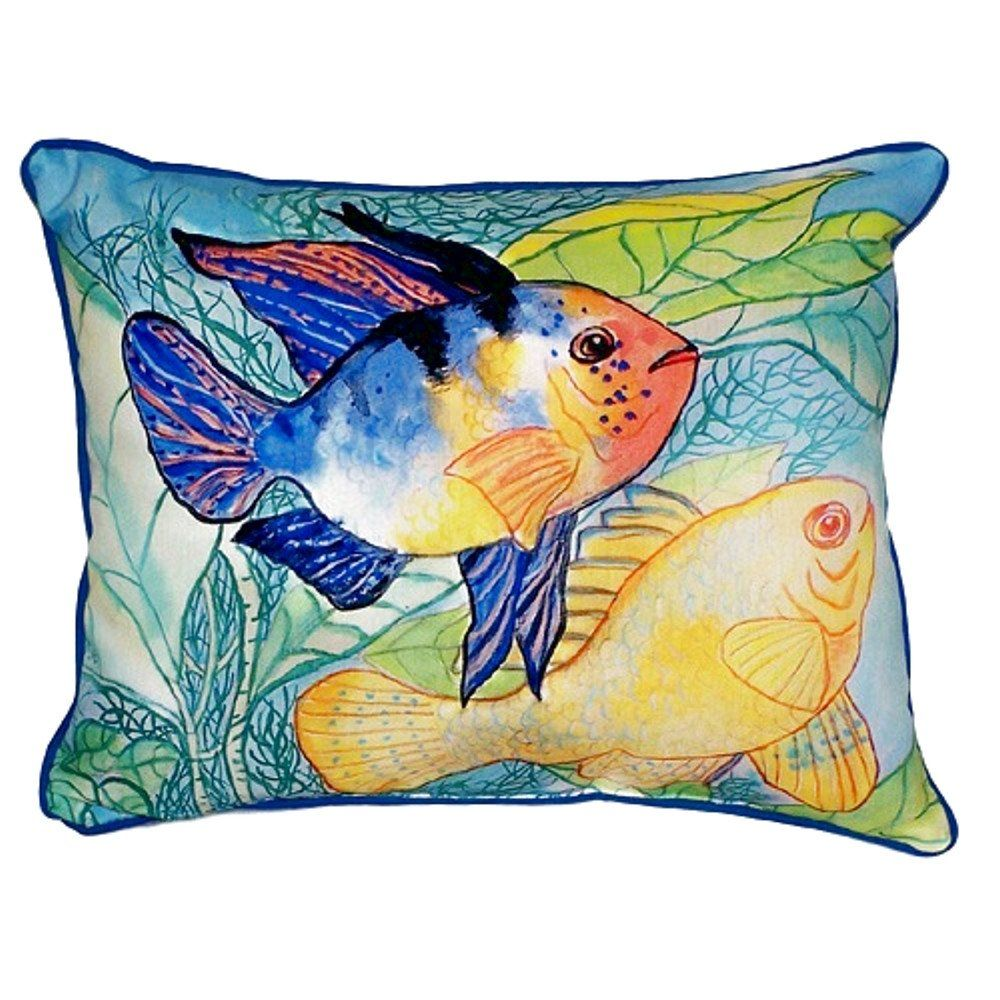Two fish extra large zippered indoor or outdoor pillow indoor
