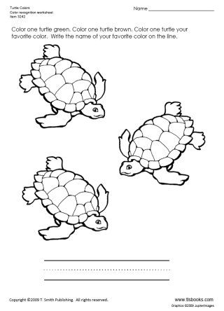 Snapshot image of Turtle Colors color recognition worksheet ...