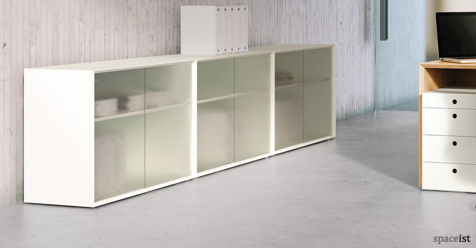 45 Desk Height Storage Cabinets With Frosted Sliding Door