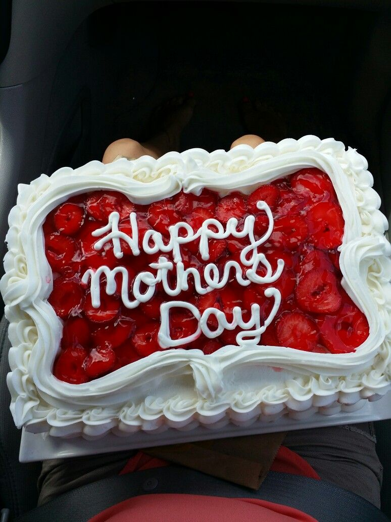 White Cake With Strawberries And Whipped Cream Mothers Day Cake