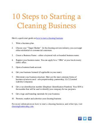 How to Start A Cleaning Business Work Related Pinterest - cleaning services resume