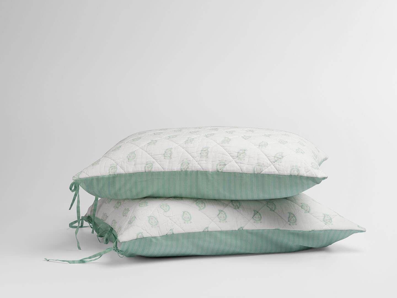 Photo of 100% Long Staple Cotton Voile Block Printed Quilt Sham – King / Dusty Aqua