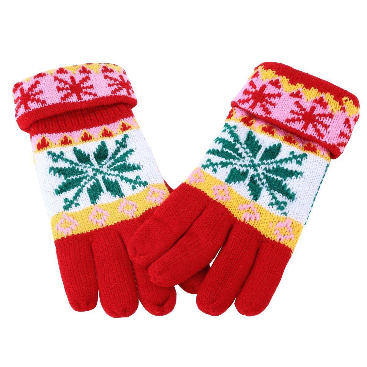 Damara Ladies & Girls Chunky Knit Fleece Lined Keep Warmer Gloves,Red