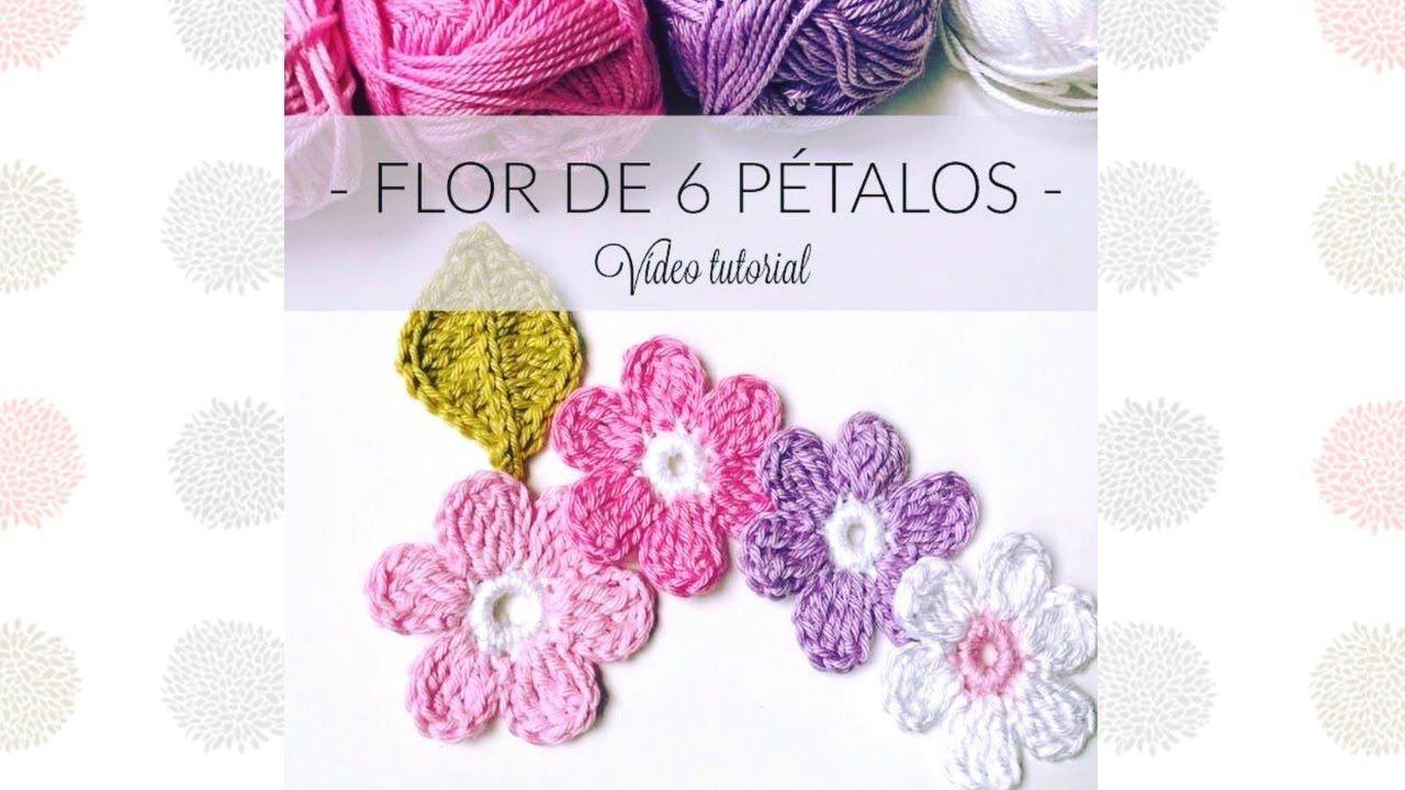 Cómo hacer una flor de 6 pétalos al crochet. Tutorial fácil ...