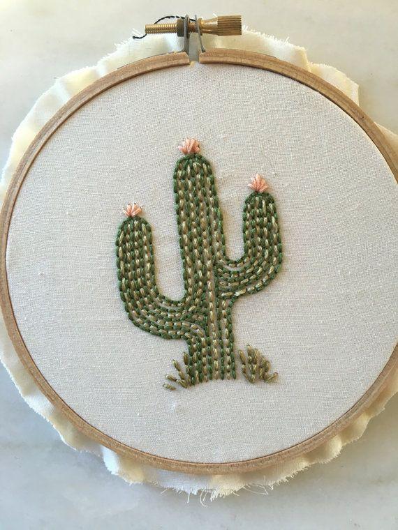 Cactus embroidery hoop art by threadsinstead