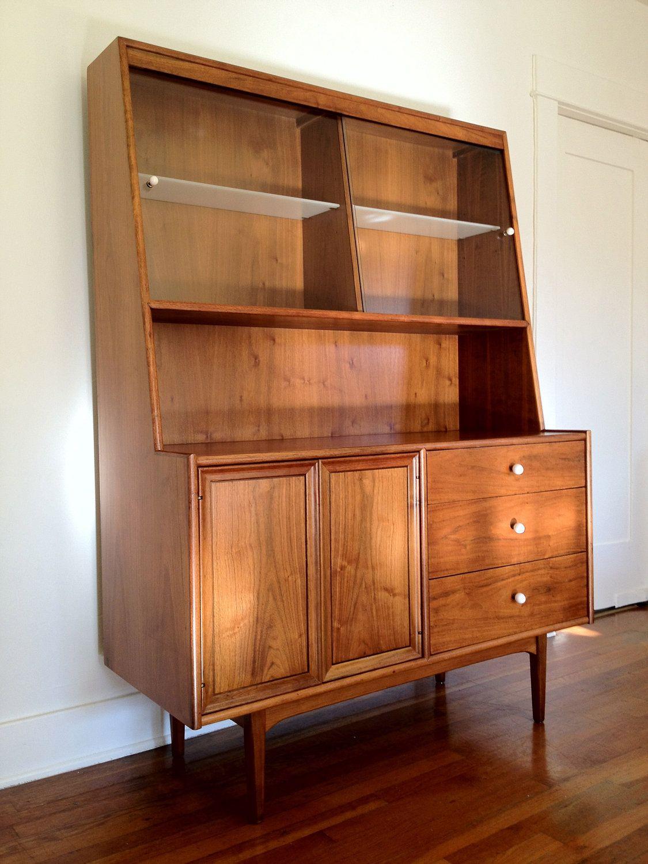 Mid Century Modern Walnut Bedroom Set By Kroehler For Sale: Drexel Declaration Mid Century Modern Buffet China Cabinet
