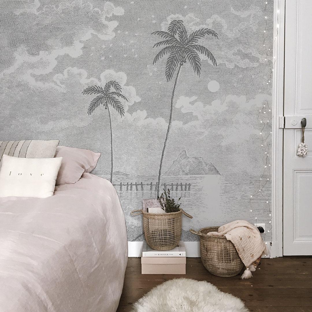 Papier Peint A Rayure Gris Et Blanc papier peint panoramique avec des palmiers palmar dans son