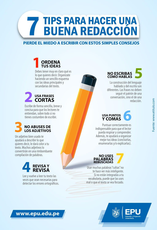 Siete consejos para hacer una buena redacción. #Infografia #EPU ...