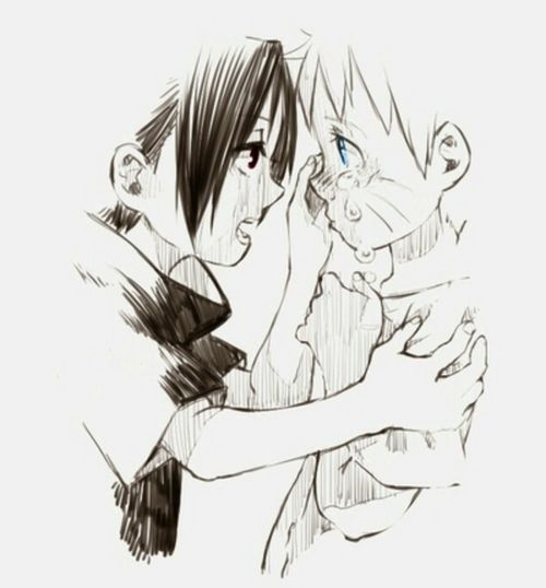 Little Sasuke Comforting Little Naruto?