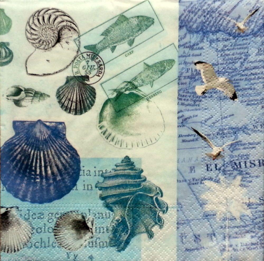 4 x Vintage Table PAPER NAPKINS / CRAFT / BEACH / DECOUPAGE / TEA PARTY