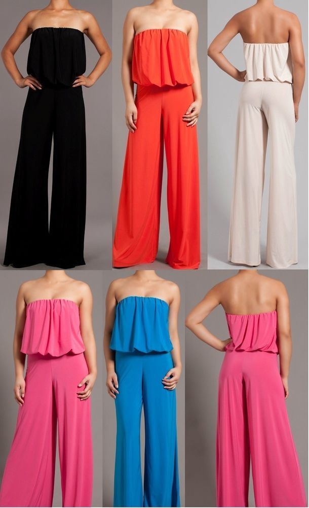 WOMEN SEXY ELEGANT STRAPLESS WIDE LEG LONG PALAZZO PANTS SUIT DRESS  JUMPSUIT #LAFASHION #Jumpsuit