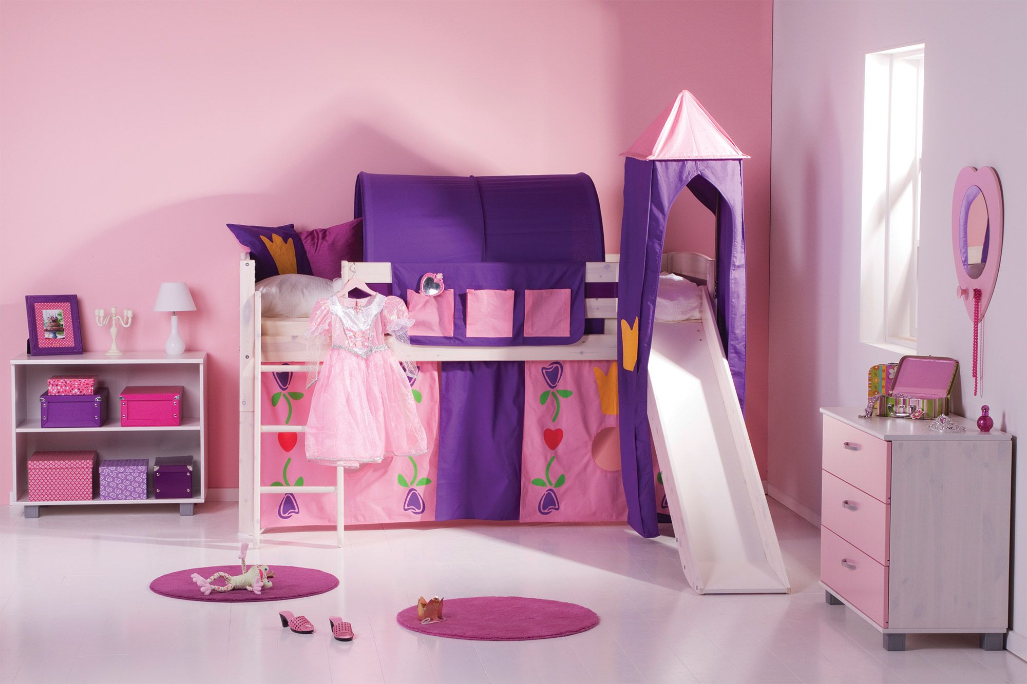 Girls Trendy Cabin Bed With Slide And Tent A Fun Midsleeper That