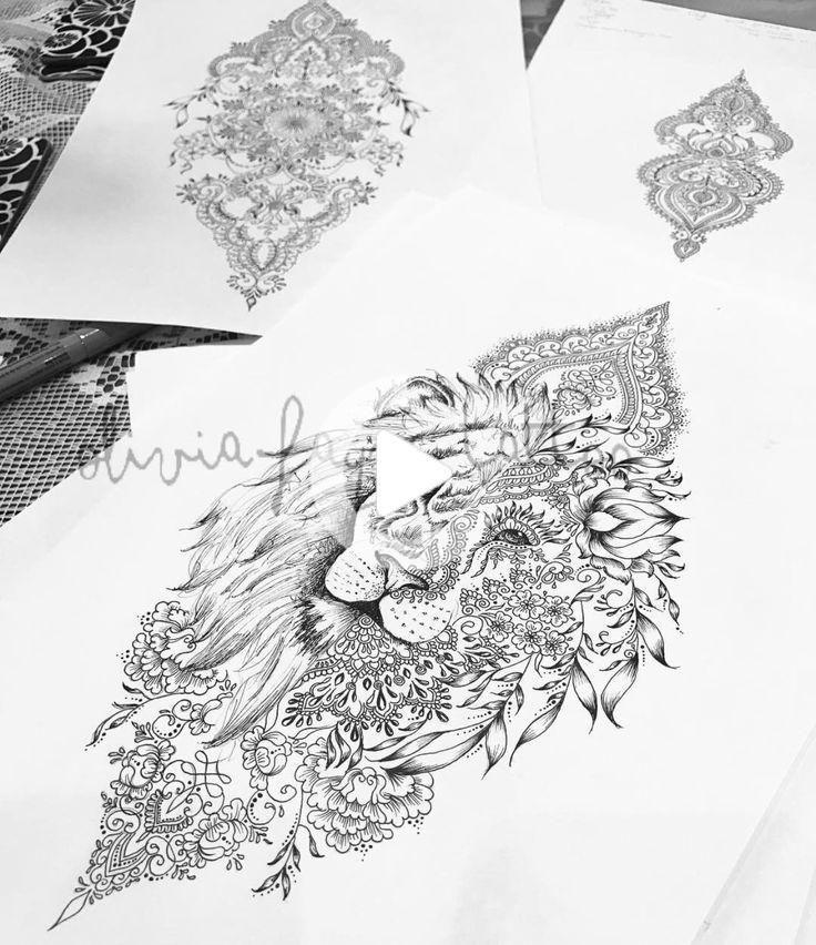 Mandala Lion Tattoo Femmes Forte Indépendante - Tattoos - épendante