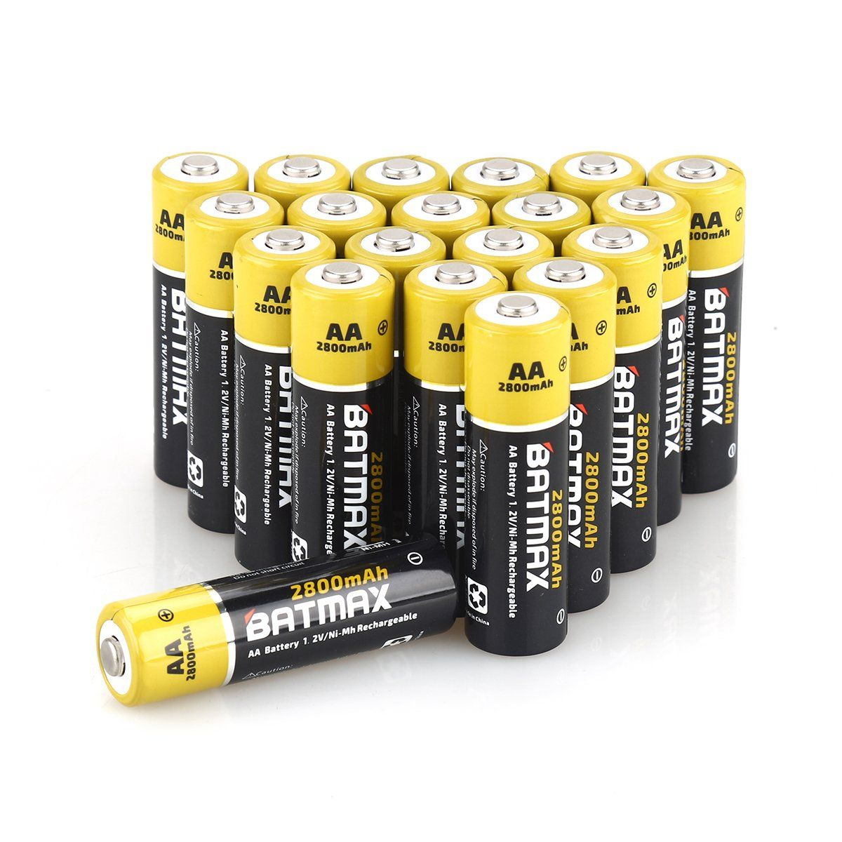 Batmax High Capacity Pack Of 20 Nimh 2800mah Aa Rechargeable Batteries Case Included Rechargeable Batteries Charger Accessories Nimh