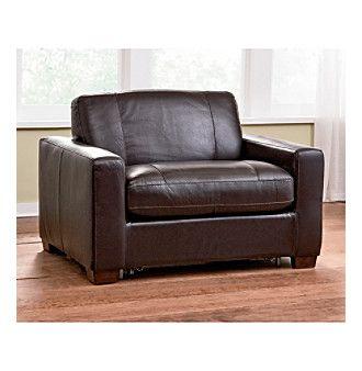 Davis Leather Twin Sleeper Sofa with Air Mattress ...