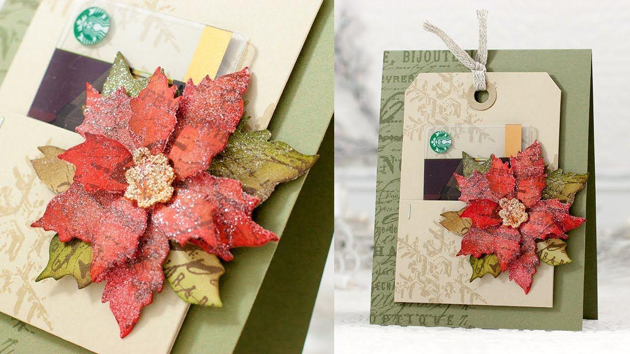 Poinsettia Gift Card tutorial Xmas cards, Poinsettia