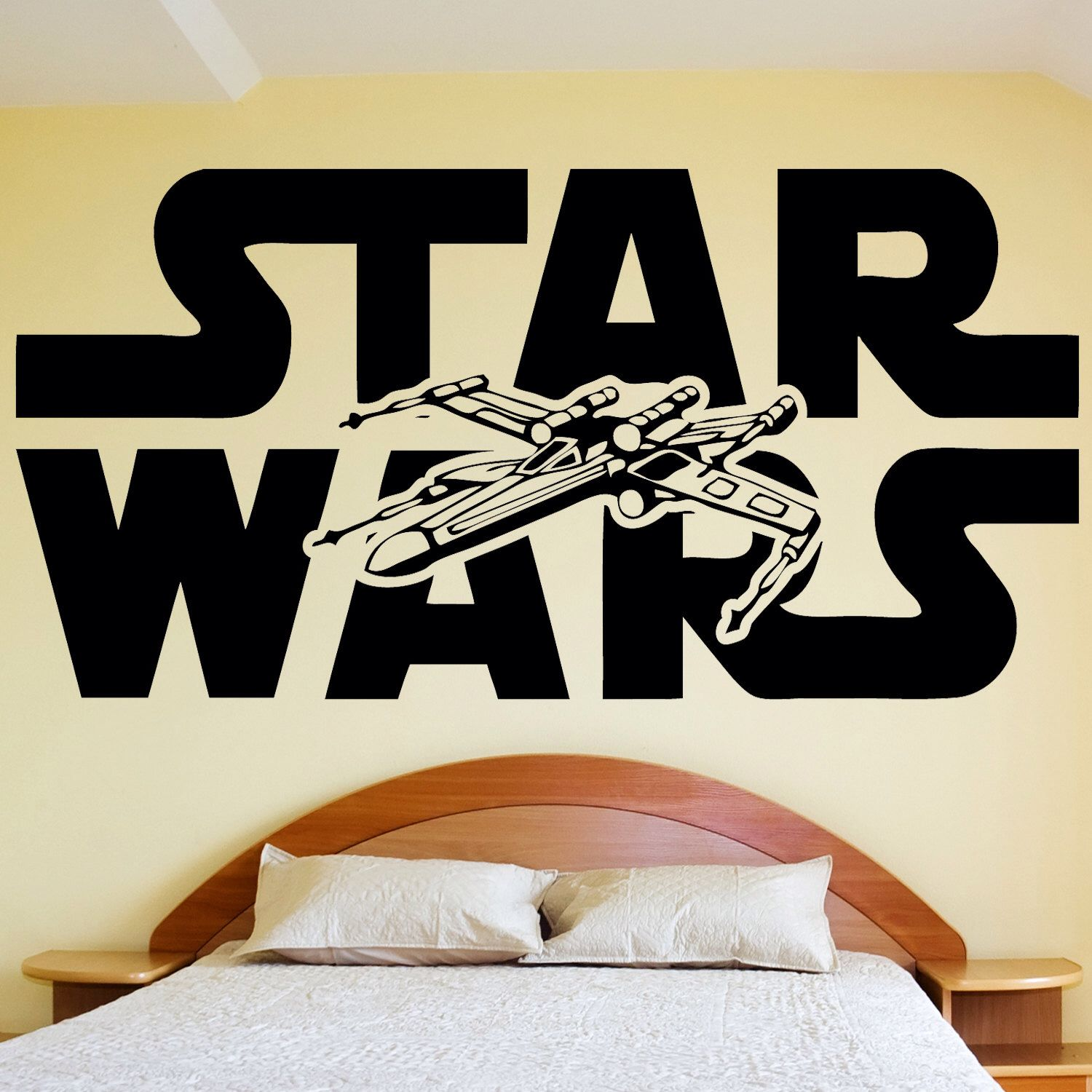 STAR WARS Wall Decal Sticker Vinyl Silhouette Logo And Xwing X Wing Fighter  Art Decor Par