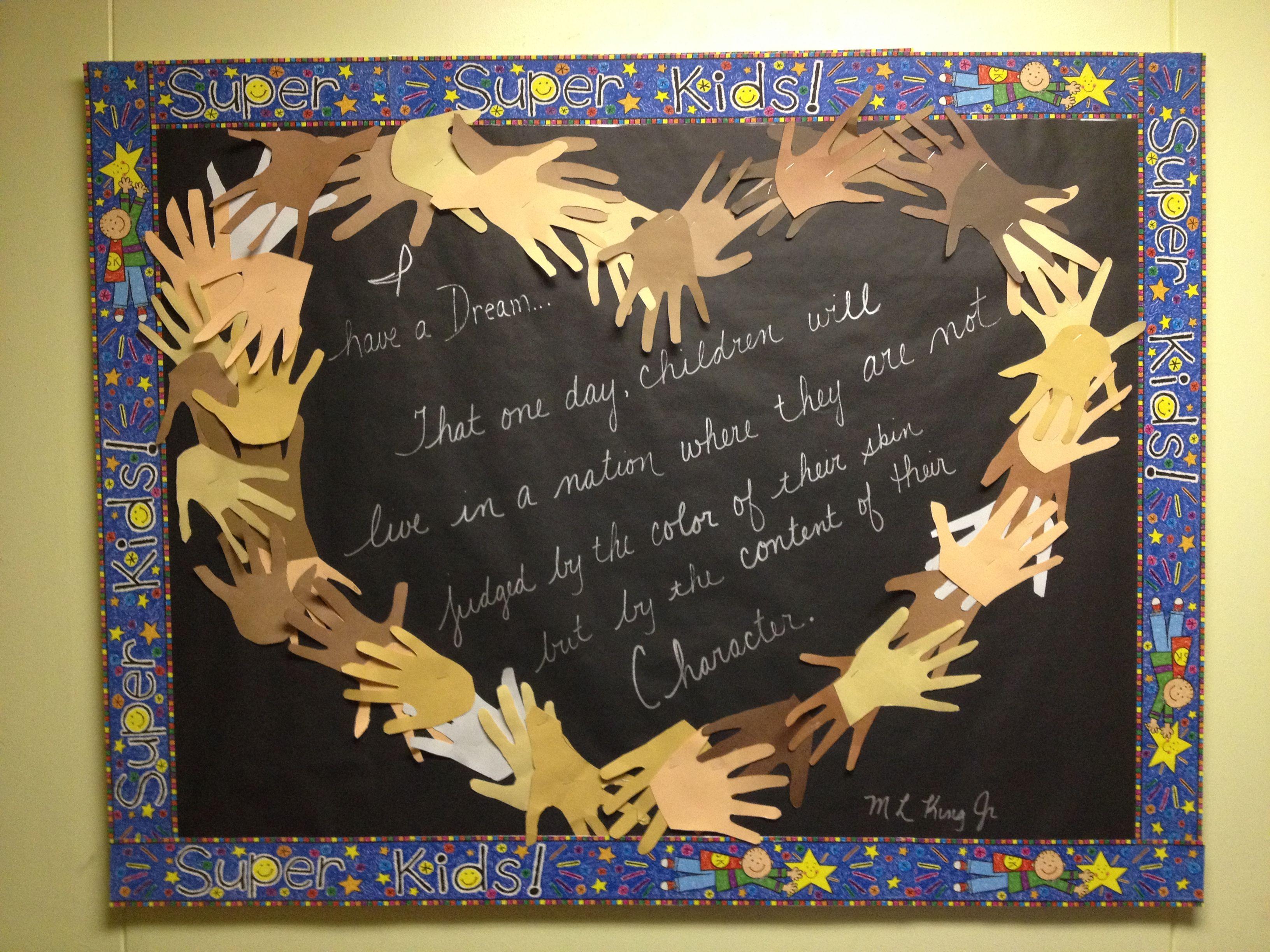 Mlk bulletin board classroom ideas pinterest for Black bulletin board ideas