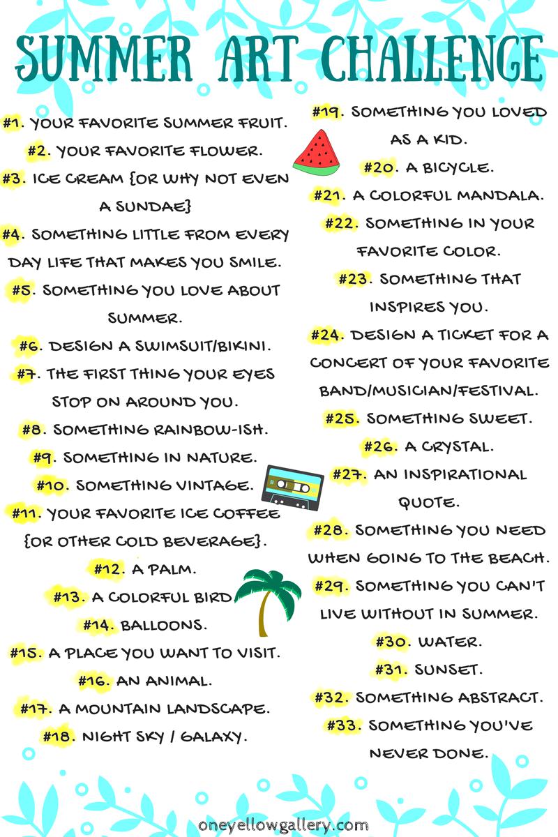 Summer Art Challenge List | random | Art challenge, 30 day