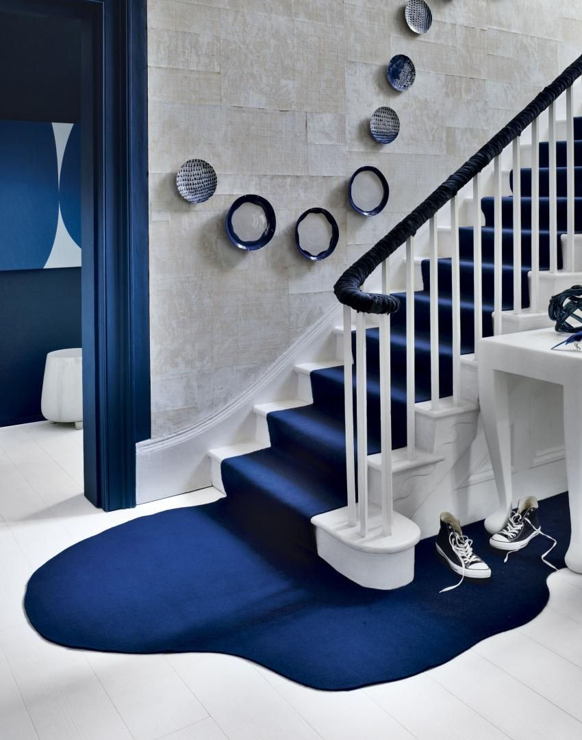Navy hallway ideas  Modern Blue and White Hallway with Streamstyle Stair Runner  Home