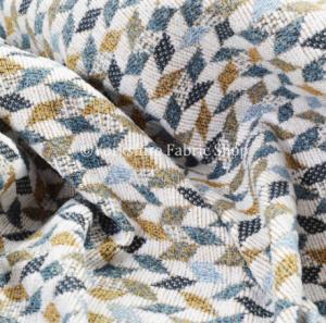 New Yellow Blue White Small Geometric Pattern Soft Chenille Upholstery Fabric