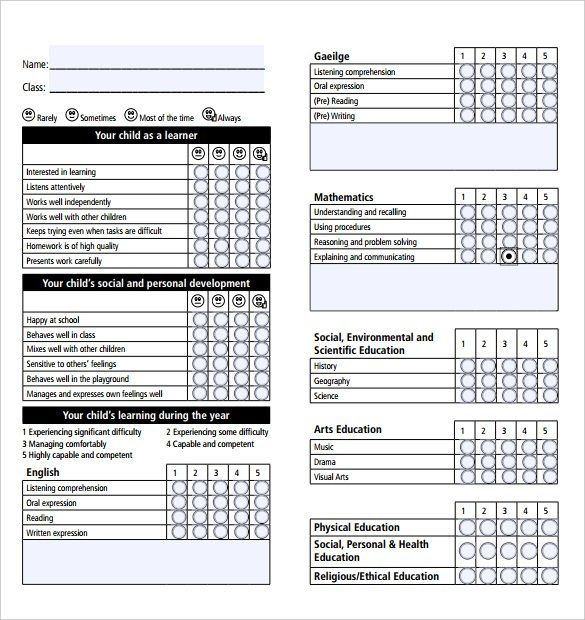 Report Card Template Pdf (11 in 2020 (With images