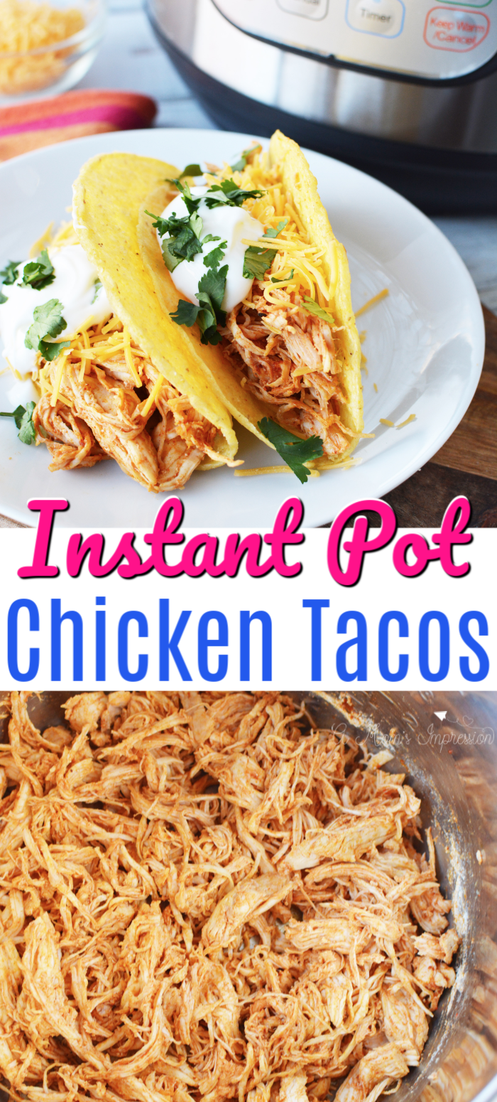 This Easy Instant Pot Chicken Tacos Uses Shredded Chicken And Taco Seasoning For A Instant Pot Recipes Chicken Instant Pot Dinner Recipes Chicken Taco Recipes