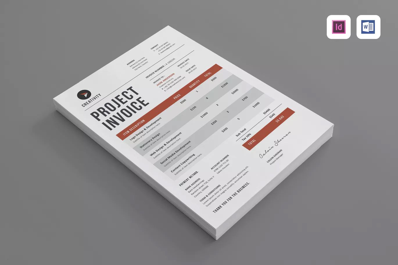 Invoice Template InDesign INDD Ms Word