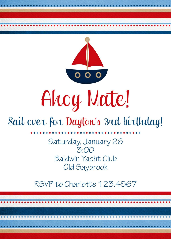Nautical Birthday Invitation 1100 Via Etsy