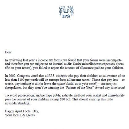 april fools prank phony tax letter for parents