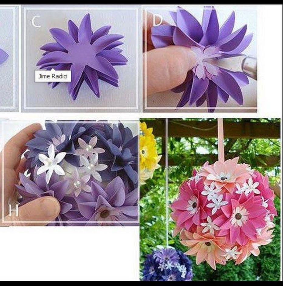 Boules de fleurs en papier faciles à faire | Fleur en papier facile, Fleurs en papier, Boule de ...
