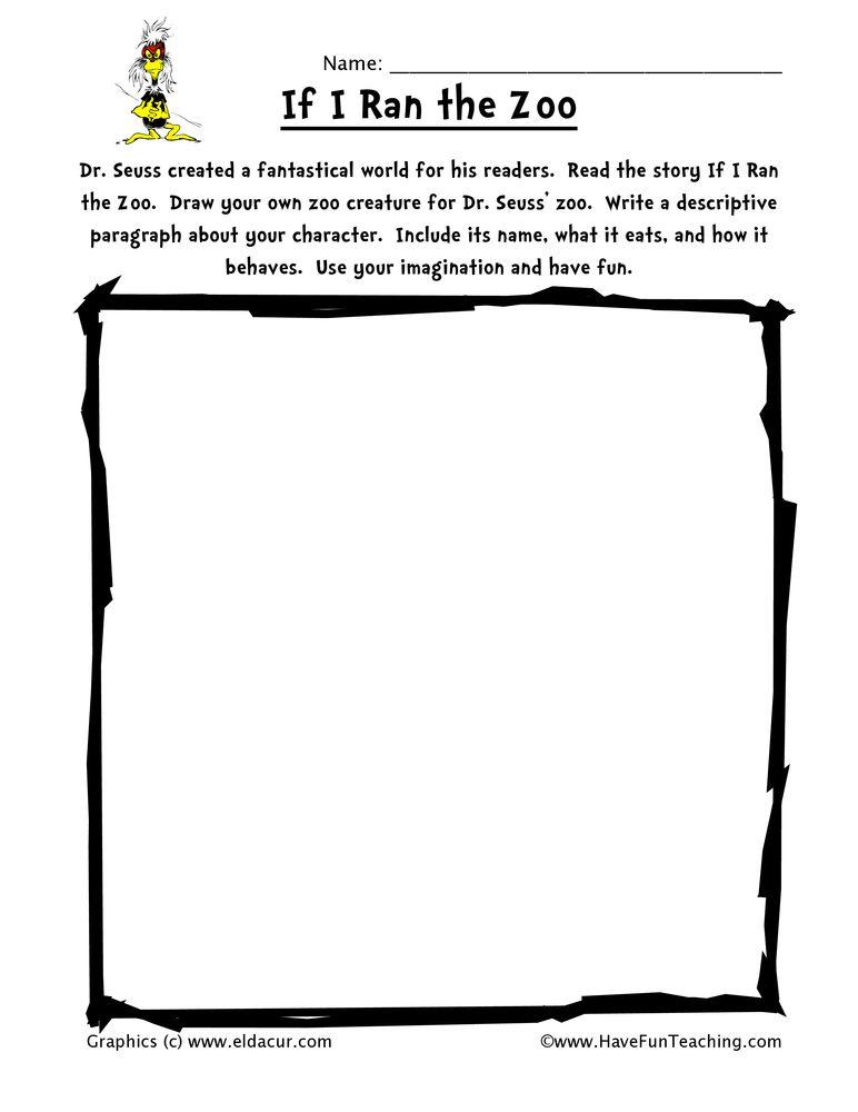 Dr Seuss Creative Writing Worksheet Writing Worksheets Creative