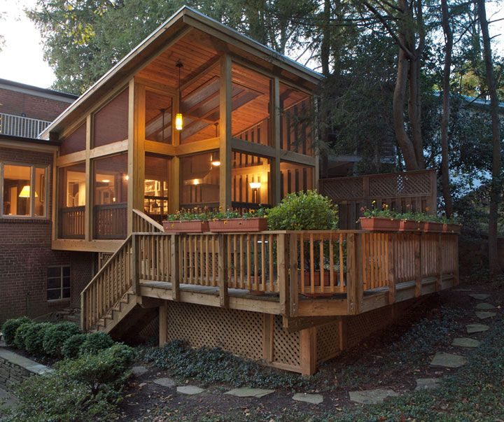Extra high angled roof over open screen porch porch for Open porch roof designs