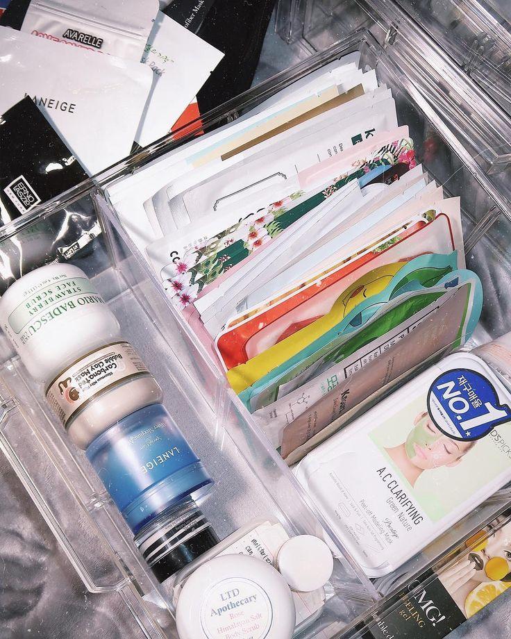 vanity / beauty organization | storage for sheet face masks | skincare organization tips #skincare