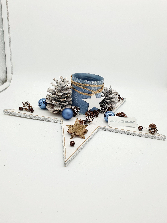 Centre de table Etoile Noël - Jour de l'an / décoration de table ou autre avec bougeoir par FevensCreation sur Etsy