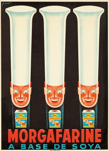 Morgafarine. ca. 1934  Artist: NOEL FONTANET (1898-1982) Size: 19 1/2 x 27 in./49.5 x 68.5 cm Atar, Genève Three beaming chefs emphasize time and time again that soy-based Morgafarine is simply the best farina on the market.