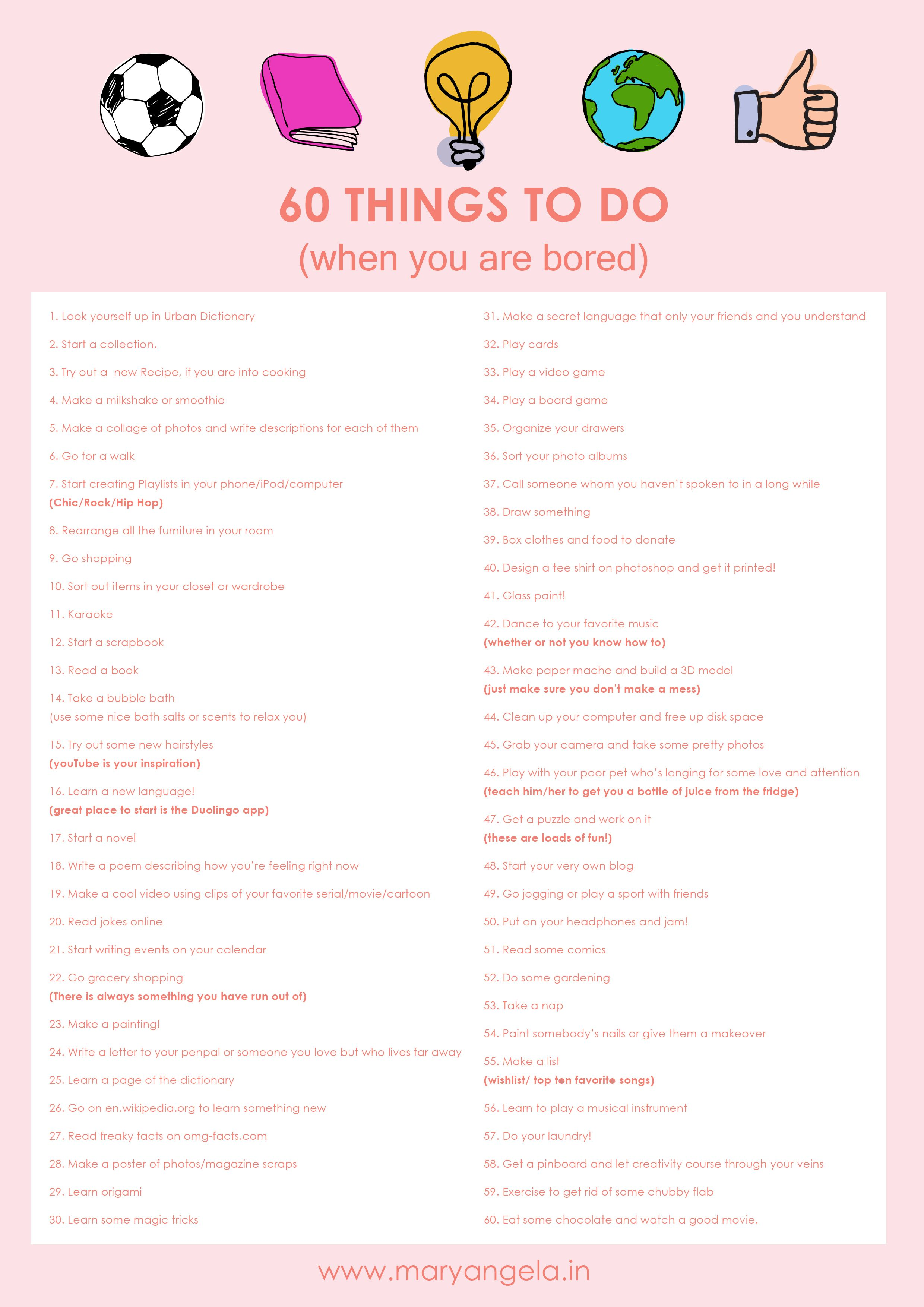 60 Things To Do When You Are Bored Free Download Life
