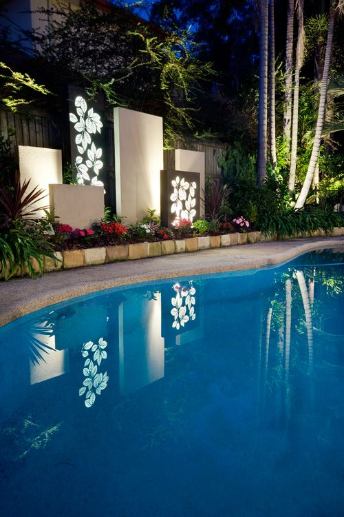Outdoor pool feature screen laser cut leaf light boxes for Pool design gold coast
