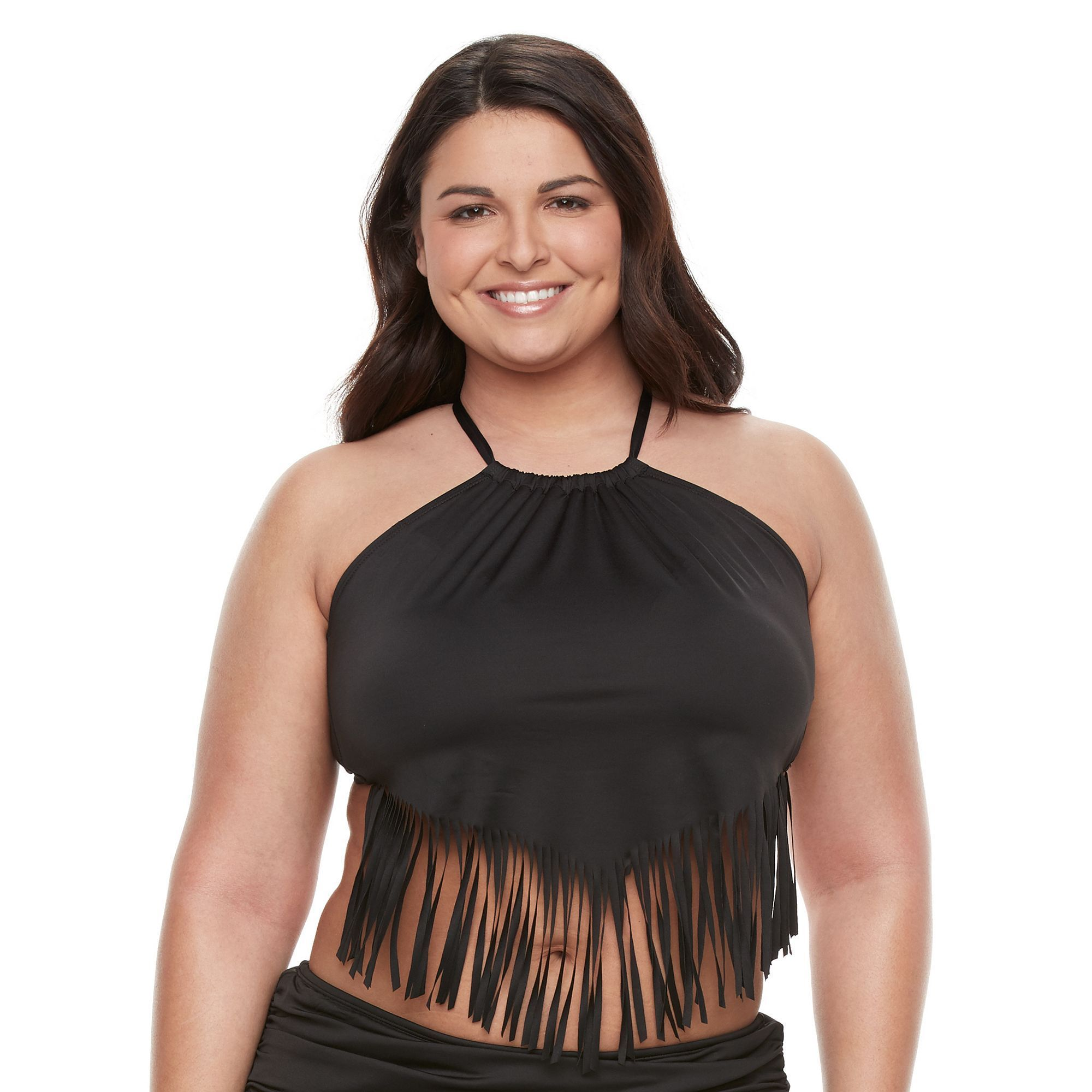 Plus Size Apt. 9® High-Neck Fringe Bikini Top