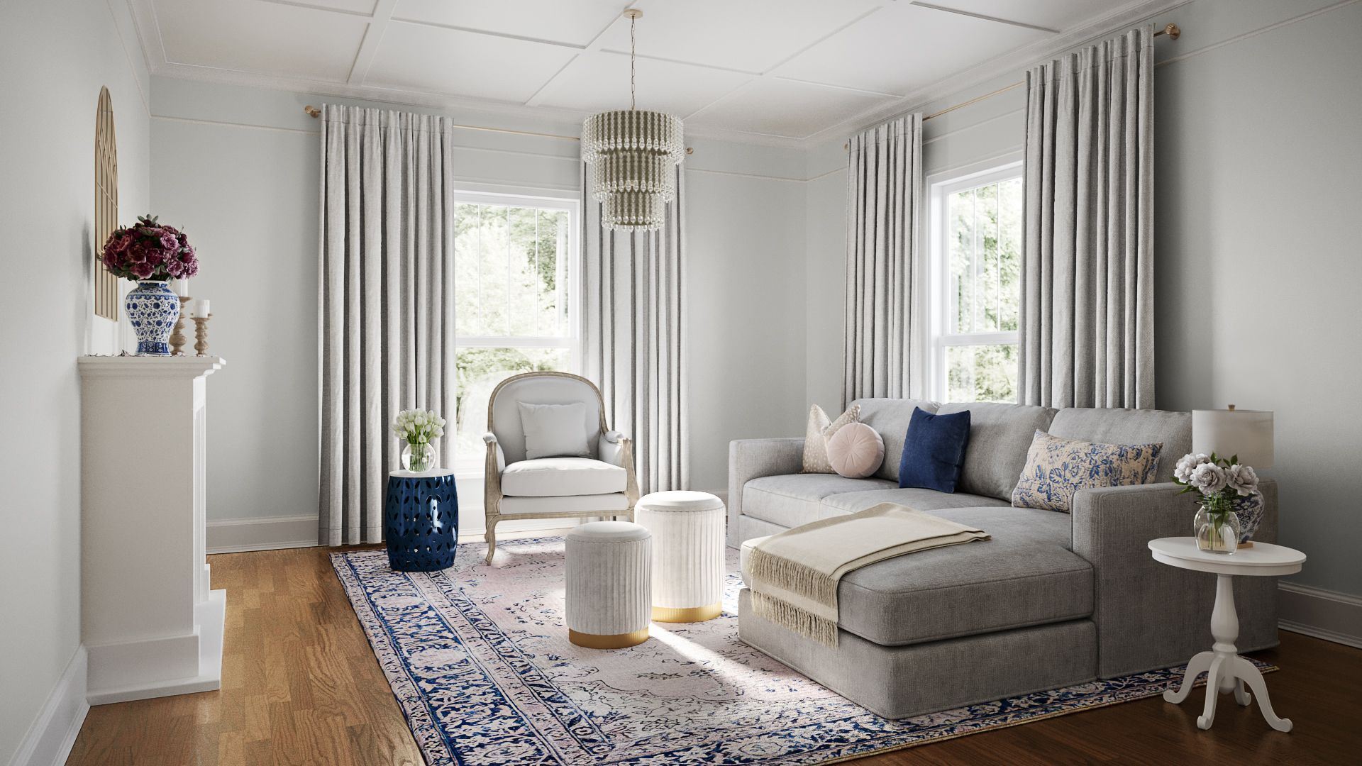 Classic Glam Traditional Preppy Living Room Design By Havenly Interior Designer Natalie In 2021 Preppy Living Room Living Room Designs Interior Design