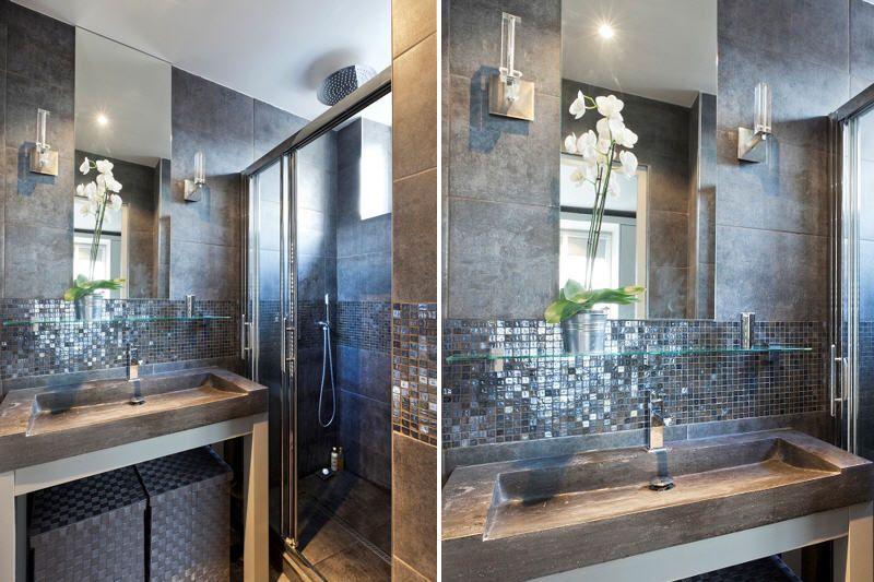 grès cérame et mosaïque dans la salle d\'eau | Bath | Petites ...