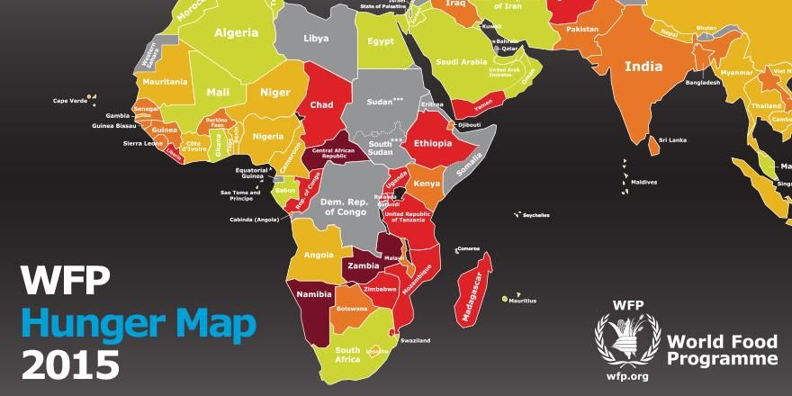 Africa Hunger Map   Map Of Africa