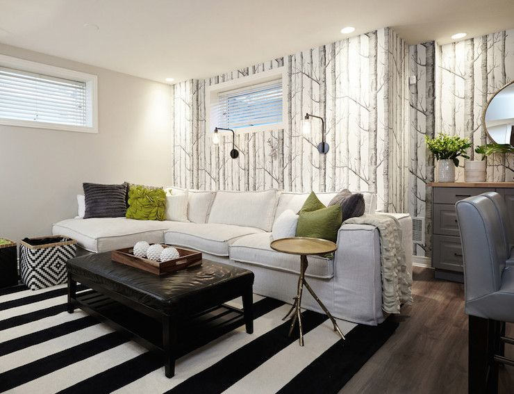 Black and White Striped Rug  Contemporary  basement  Benjamin   Black and White Striped Rug  Contemporary  basement  Benjamin Moore Revere  Pewter  Nest. Benjamin Moore Revere Pewter Living Room. Home Design Ideas