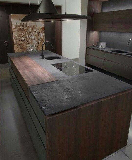 Cucina ad isola con piano ad induzione a filo interni - Top cucina in cemento ...