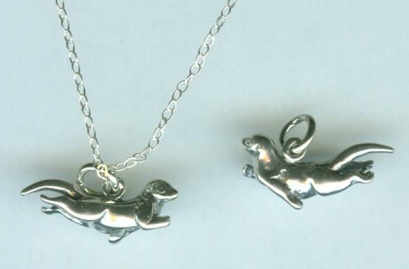 Sterling swimming otter pendant and chain aloadofball Image collections