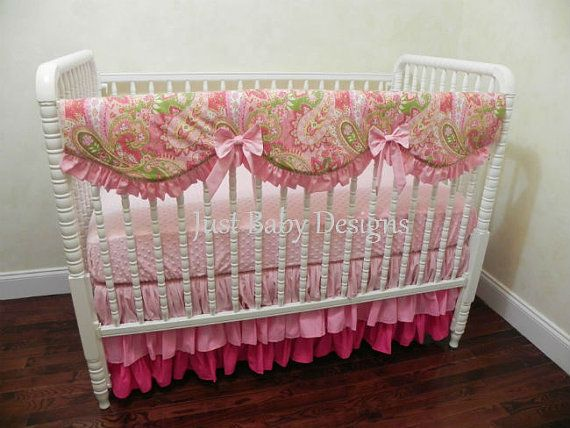 Baby Crib Bedding Set  Blair - Girl Baby Bedding, Rail Cover, Ruffled Tiered Skirt, Paisley and Pink Baby Bedding