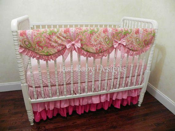 Baby Crib Bedding Set  Blair - Girl Baby Bedding, Rail Cover, Ruffled Tiered Skirt, Paisley and Pink Baby Bedding
